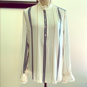 ANN TAYLOR pearl and ruffle blouse